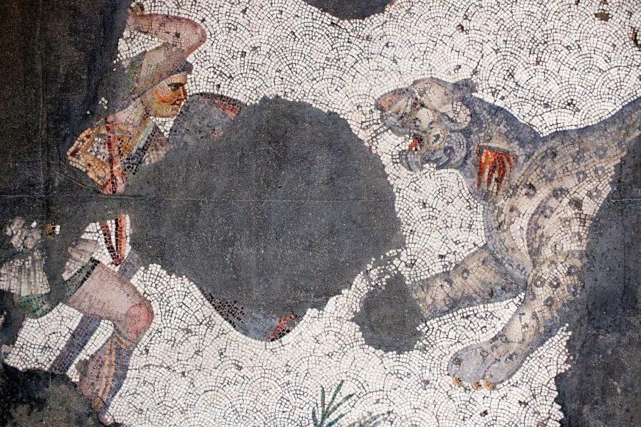 Борьба человека и тигра на мозаики в музеи мозаики