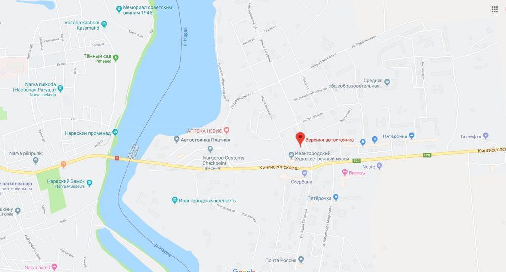 Карта маршрута до Таллина на автомобиле