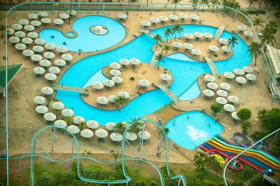 Вид на Аквапарк в Паттайя Парке сверху