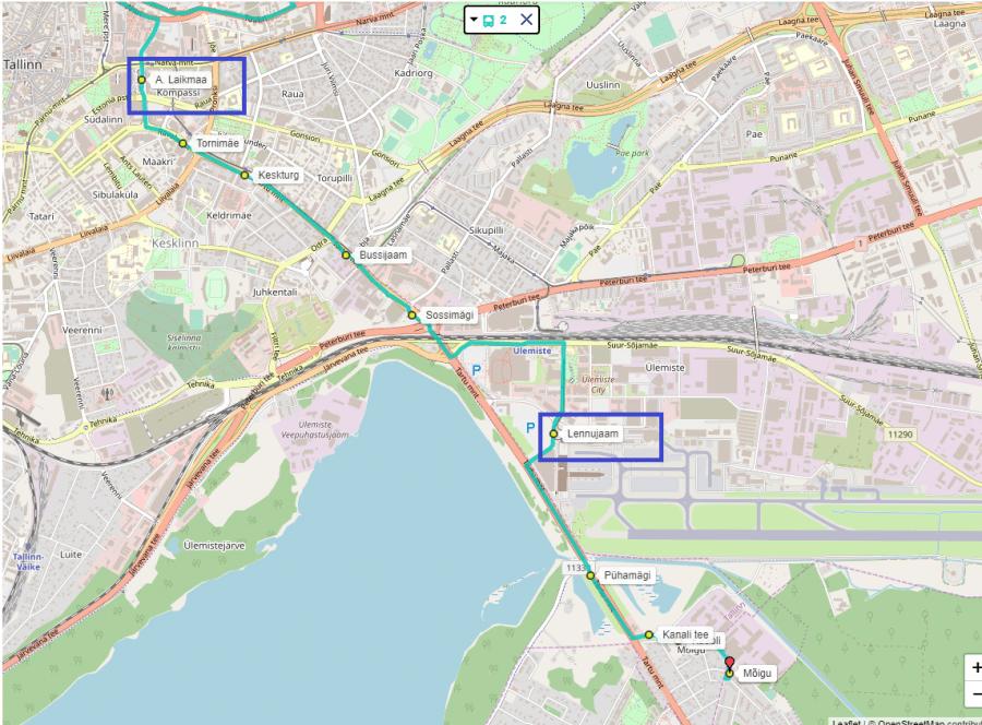 автобусный маршрут из аэропорта в центр Таллина