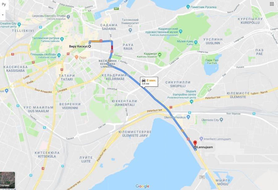 автомобильный маршрут из аэропорта до центра Таллина