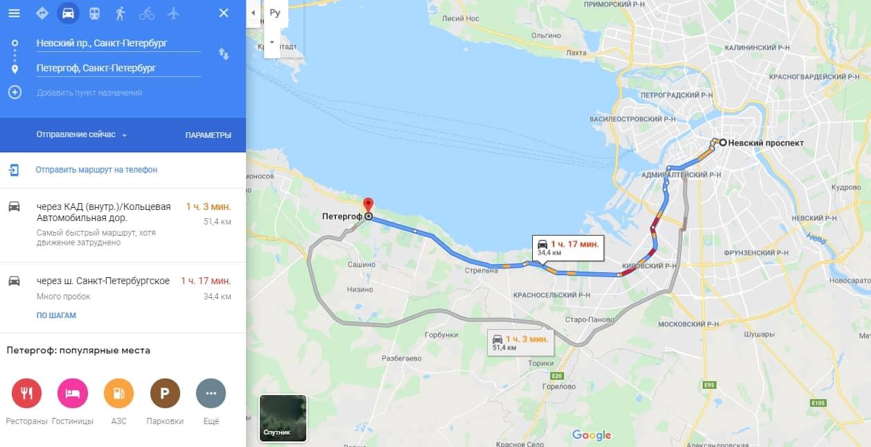 Как доехать до Петергофа на машине