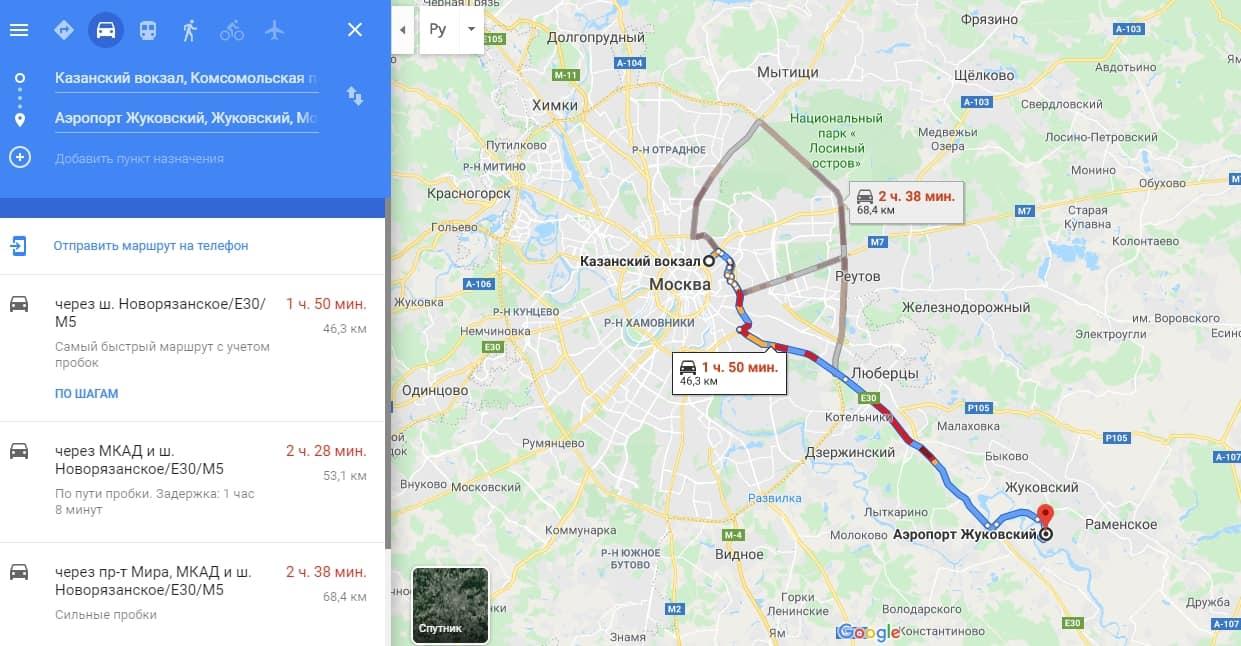 Как доехать от Казанского вокзала до Жуковского